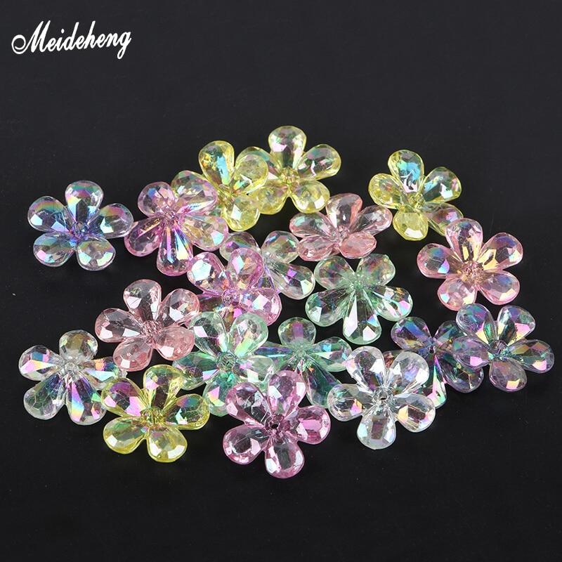 100 Blüten-Blatt-Perlen transparent Farbig Bunt Kinder//Flower//Blüten//Blätter