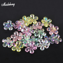 Fashion 22mm Plastic Flower Beads Colorful Crystal Transparent DIY Jewelry Home Decoration Handmade Accessory