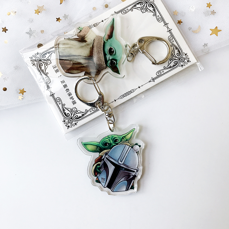 The Mandalorian Baby Yoda Keychain Toy Transparent Acrylic Cute Cartoon Chain Children Bag Car Keyrings Decoration DIY Pendant