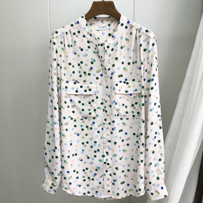 Women <font><b>Shirt</b></font> <font><b>Blue</b></font> Green <font><b>Polka</b></font> <font><b>Dot</b></font> Silk <font><b>Shirt</b></font> image