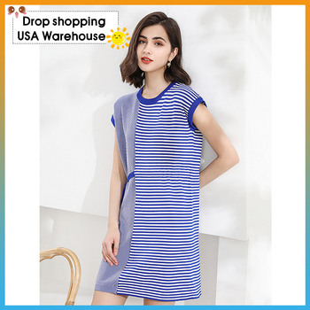 homecoming dresses dress striped knitted bat sleeve loose striped ice silk  Dress female summer commuter women's clothing knot front striped dress