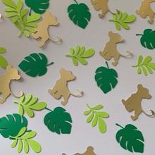 100 шт./упак. Новый сафари джунгли животного Лев черепаха листьев Бумага Confettis детских празднований дня рождения Свадебная вечеринка стол пос...
