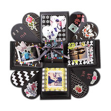 DIY Photo Surprise Gift Fashion Box Unique Design Paper Creative Birthday Party Explosion Black