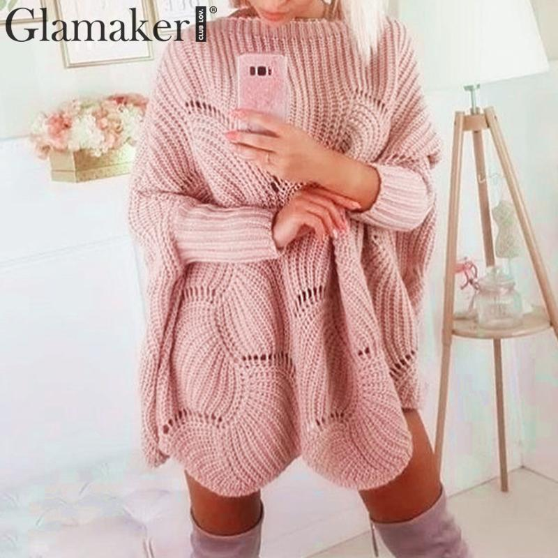 Glamaker Pink Autumn Batwing Sleeve Knitted Sweater Women Winter Fashion Warm Jumper Sweater Dress Female Sexy Crochet Pullovers