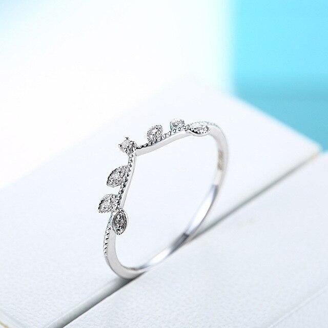 Elegant Crown Diamond 18K Genuine Real True Solid Gold Rings Bands for Women Lady Girlfriend Fancy Upscale Office Jewelry Gift 4