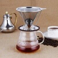 1 pçs de aço inoxidável filtro café malha reutilizável despeje sobre cone café dripper dolce gusto cafe ferramentas novo suporte dropship