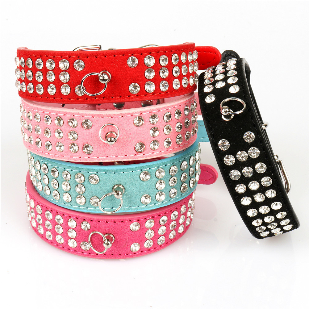 Pet Dog Collar Three Rows Crystal O-Ring Suede Dog Chain Necklace