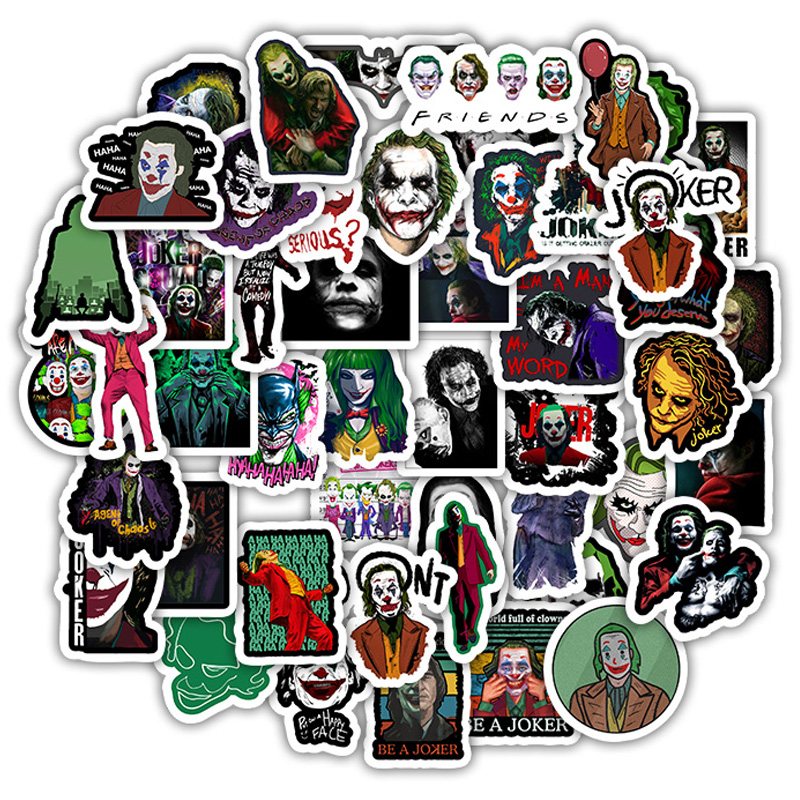 50PCS The Joker Anime Stickers Cartoon Clown Style For Case Laptop Motorcycle Skateboard Luggage Decal Children Toy Sticker F5