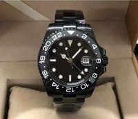 40MM PARNIS Black dial GMT อัตโนมัติ Self-WIND Mechanical นาฬิกาผู้ชายส่องสว่างนาฬิกา PVD กรณี Sapphire คริสตัล 355