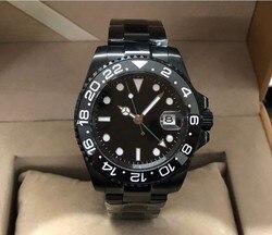40MM czarna tarcza parnis GMT automatyczny mechanizm Self Wind mechaniczne zegarki luminous męski zegarek PVD case Sapphire crystal 355 w Zegarki sportowe od Zegarki na