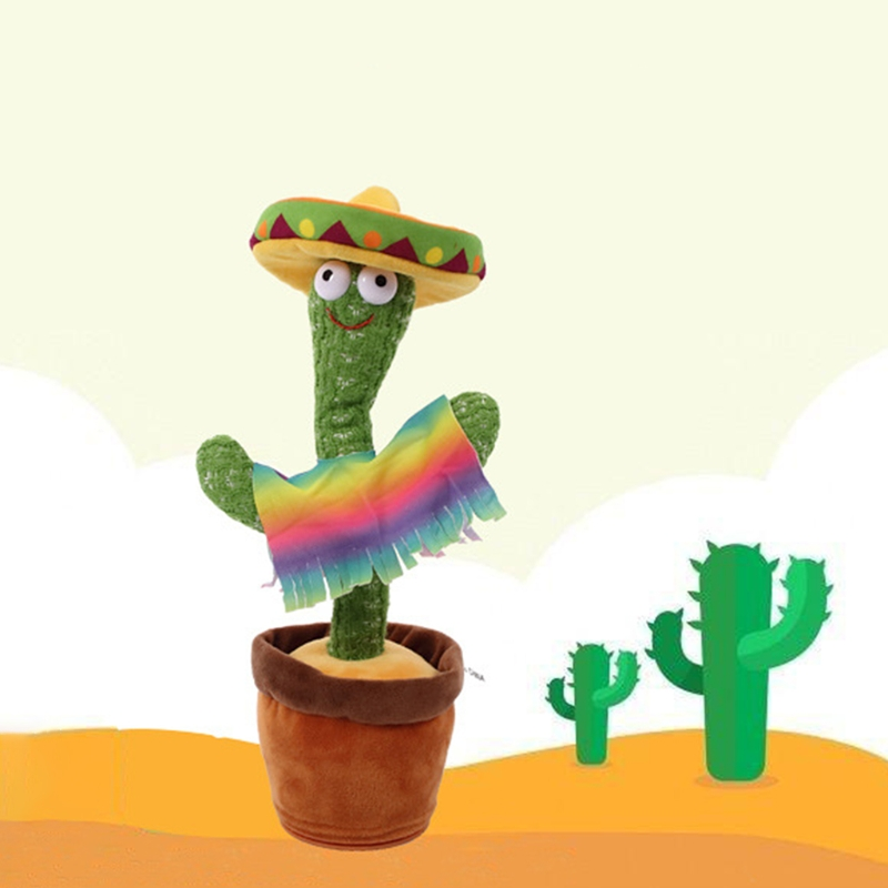 Dancing Cactus Electronic Cactus Toy, Electronic Vibration Dancing Cactus, Singing And Swinging Straw Hat Potted Plant, Toy 54DF