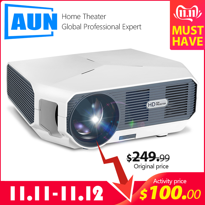 AUN MINI Projector ET10, 1280x720P, 3800 lumen, Optional (Mirroring / Android Version),LED Projector for 1080P Video 3D beamer-in LCD Projectors from Consumer Electronics