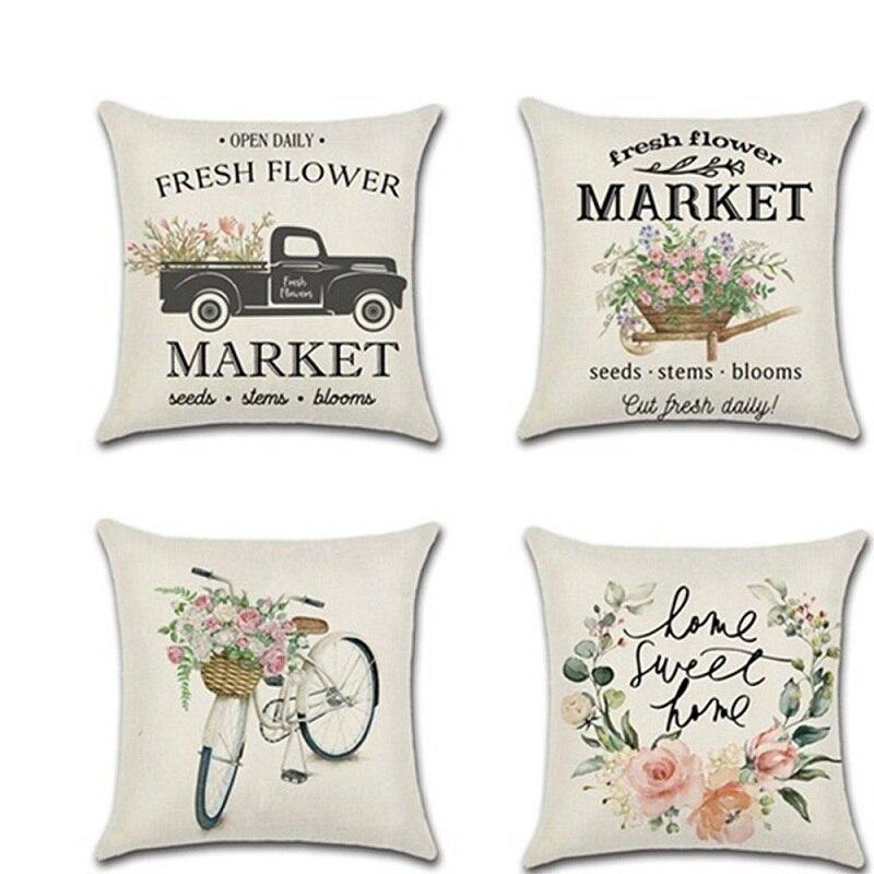 Cotton Linen Cushion Cover Spring Sunflower Bicycle Car Farm Theme Pillow Case Home Chair New Year Decoration Pillowcase Cojin