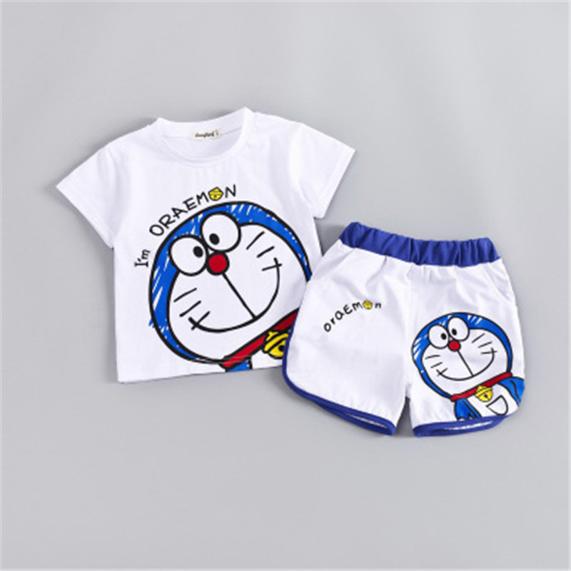 Summer Shorts Doraemon-Pattern Outfits Clothes-Sets Shirt Girls Baby Boys Kids Children