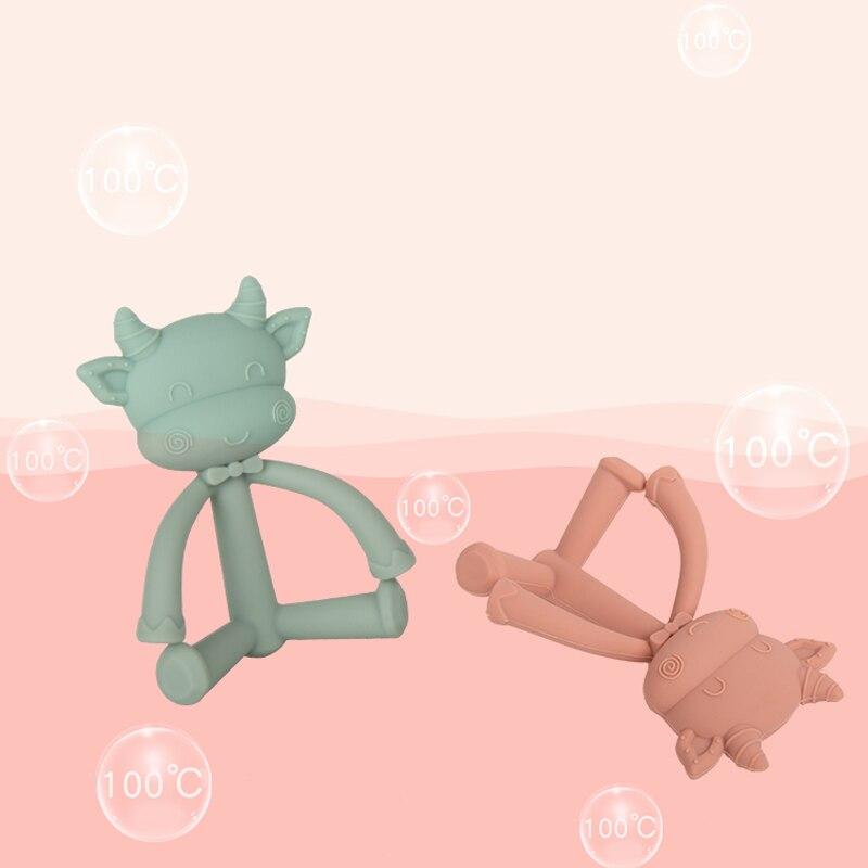 Bebê dentição brinquedos mãe bebê suprimentos inovador tridimensional mordedor do bebê mordida molar haste comida-grau silicone molar barra