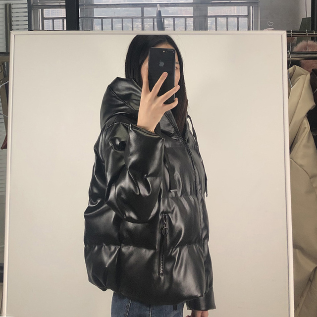 Fandy Lokar Zipper Short Parkas Women Fashion Pockets PU Leather Coats Women Elegant Winter Hooded Cotton Jackets Female Ladies 4