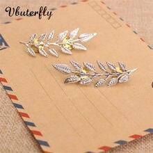 1-pairs xale pino/broche ramo com folhas ouro-prata cor queda camisola acessórios para feminino folha cachecol pinos HSJ38F-47F