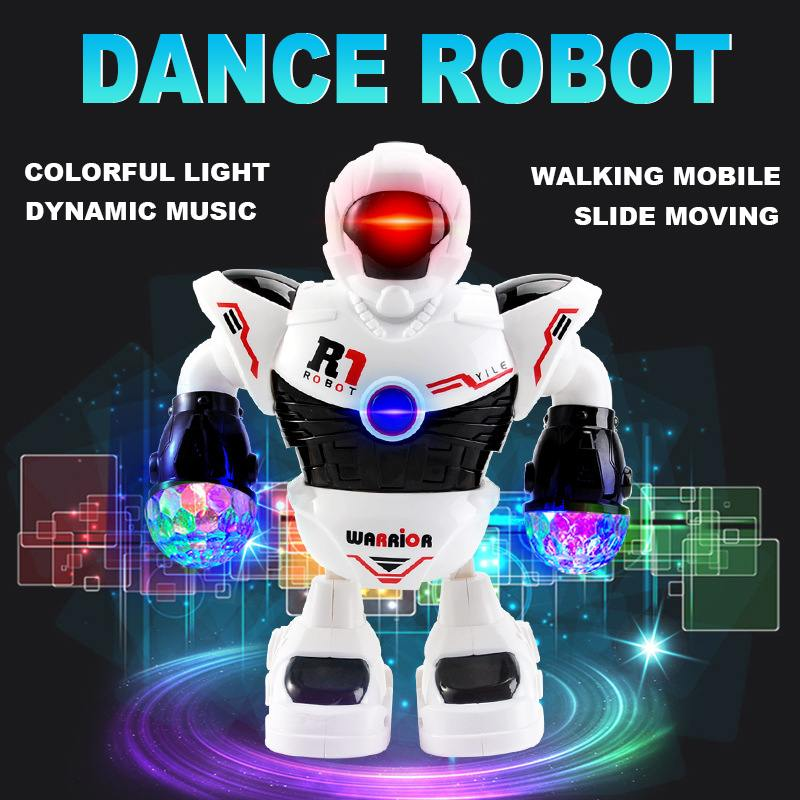 Smart Electric Dancing Walking Musical Robot With Led Flashing Light USB Charging Interactive Figure Toy for Kid Birthday Gift