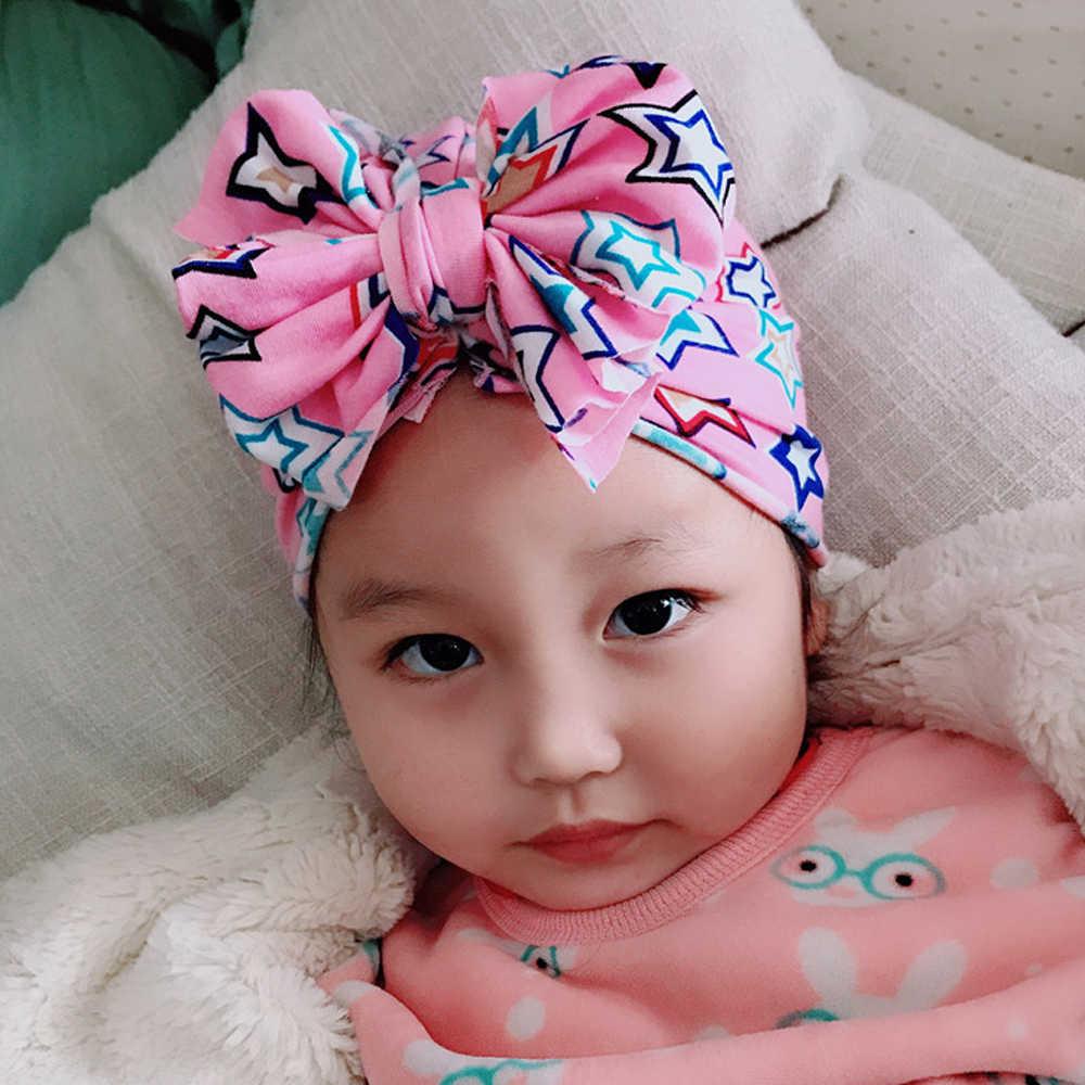 Mode Schattige Baby Hoed Peuter Kinderen Zachte Katoenen Tulband Mutsen Hoed Jongen Meisje Bloemen Strik Hoofd Wraps Voor 0- 3 jaar Kinderen