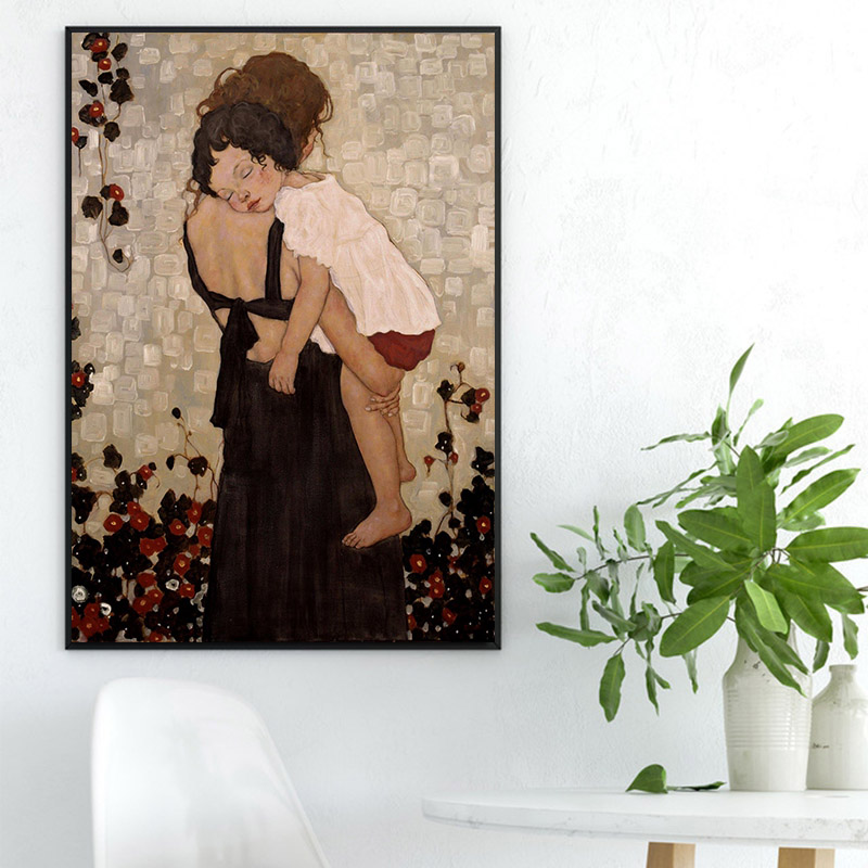 Home Art Wall Decor Mother/'s Love Cat Oil Painting Picture HD Printed on Canvas
