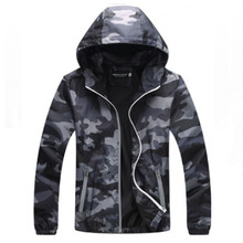 Mens new 2019 camouflage hooded jacket with zipper casual coat