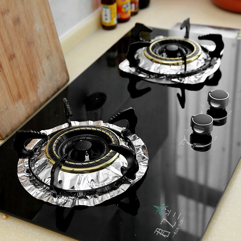 10pcs Set Gas Stove Protector Non Stick Tin Foil Gas Stove Burner Cover Mat Pad Clean Liner For Kitchen Cookware Sponges Scouring Pads Aliexpress