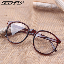 Seemfly Men Women Glasses Frame Retro Big Round Spectacles Eyewear Clear Lens Female Male Leopard Vintage Eyeglasses 2019