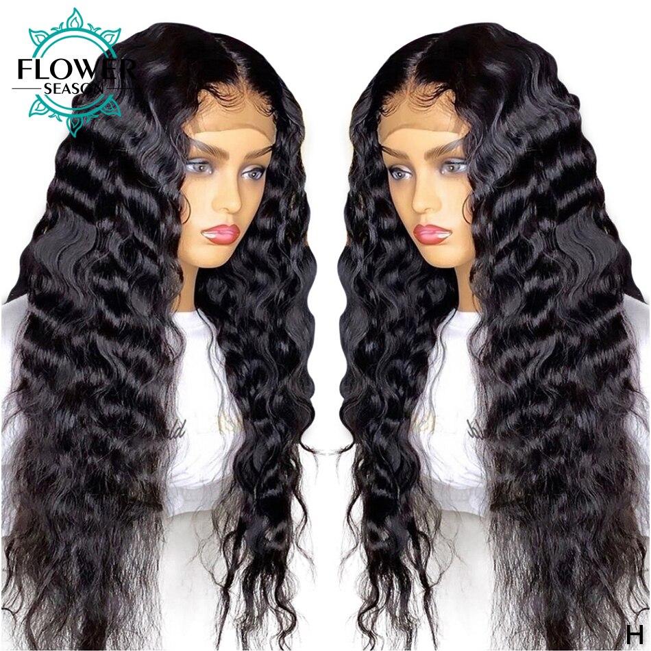 Deep Wave 5x4.5 Silk Base Lace Front Wig Pre Plucked Remy Brazilian Silk Top Full Lace Human Hair Wigs 130% FlowerSeason