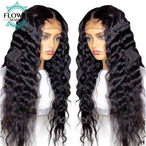 Onda profunda 5x4.5 base de seda peruca dianteira do laço pré arrancadas remy brasileiro de seda superior cheia do laço perucas cabelo humano 130% flowerseason
