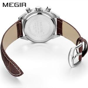 Image 2 - MEGIR Original Men Quartz Watch Reloj Hombre Leather Business Watches Man Clock Chronograph Army Military Watch Sport Male 2020