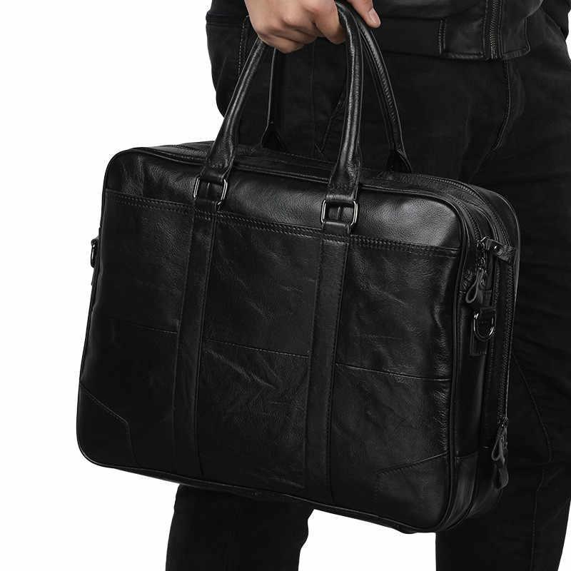 Maletín de cuero para hombre, bolso de cuero retro informal para hombre, de negocios, de 15,7 pulgadas, bolso de ordenador