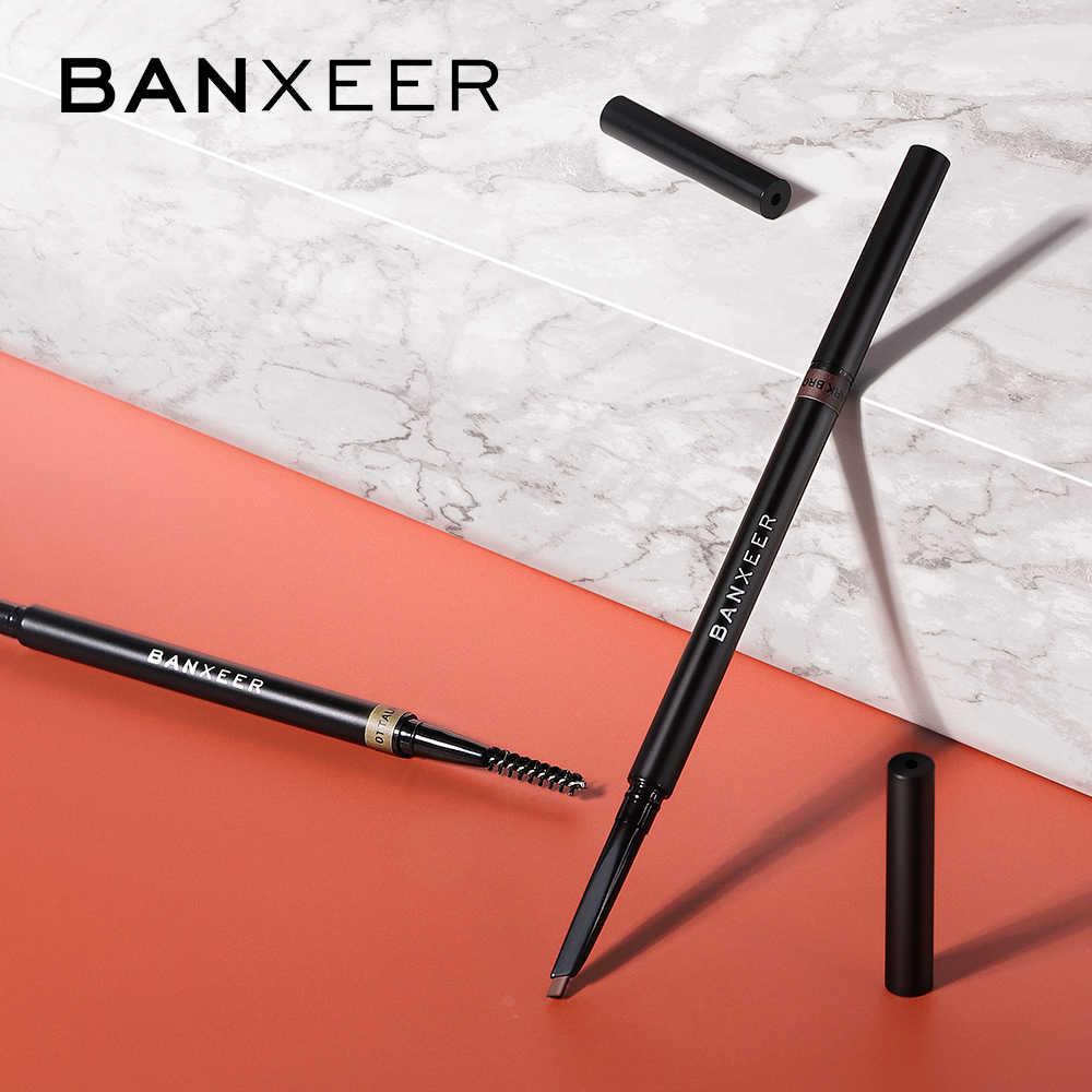 Banxeer sobrancelha lápis à prova dwaterproof água para sobrancelhas cosméticos sobrancelha marcador enhancer marrom tatuagem caneta sobrancelha lápis com escova