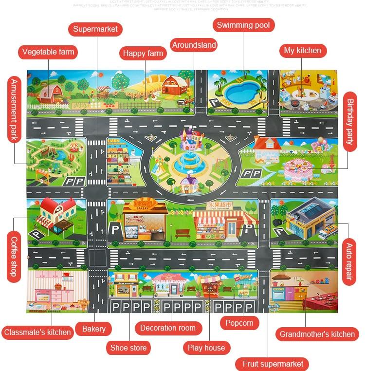 Large City Traffic Car Park Mat Play Kids Rug Developing Baby Crawling Mat Play Game Mat