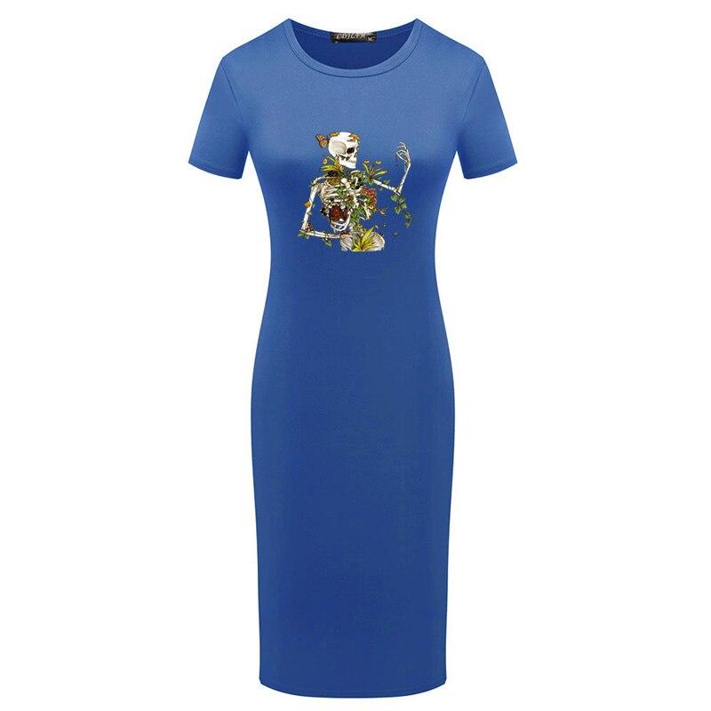 Пакет бедра размера плюс миди женское платье с принтом черепа