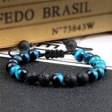 Multicolor Tiger Eye Beads Bracelets Handmade Braided Natural Black Lava Stone Charm Bracelet Men Women Adjustable Yoga Jewelry