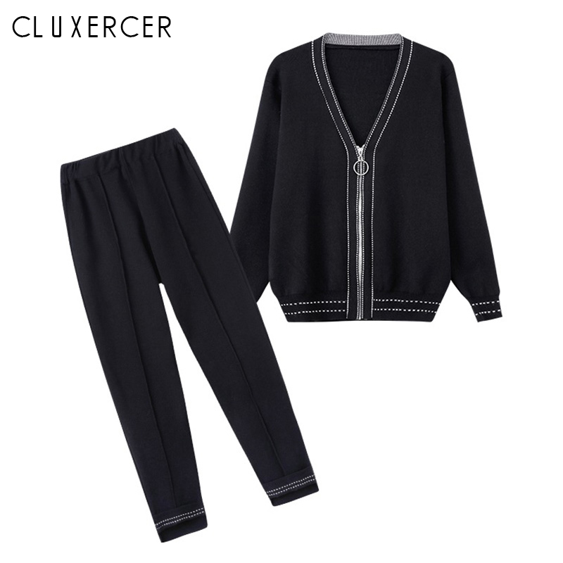 2019 New Autumn 2 Piece Set Women Sporting Suits Knitting V Neck Cardigan + Pants Suit Plus Size Tracksuit For Women Outfits