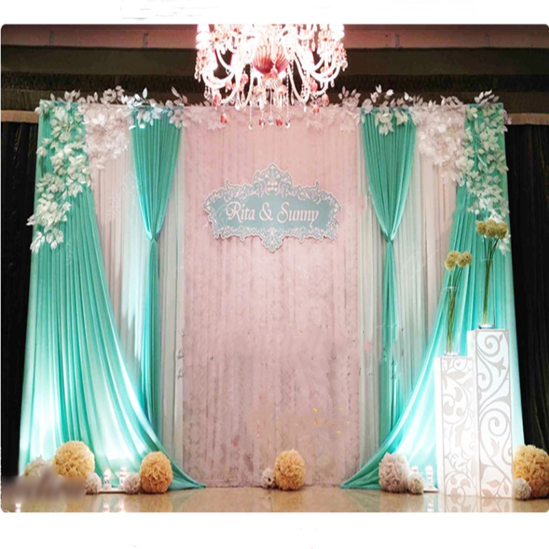 Lace Ice Silk Cloth Wedding Stage Background Veil Birthday Party Engagement Ceremony Opening Ceremony Backdrop Decoration Little Mermaid Party