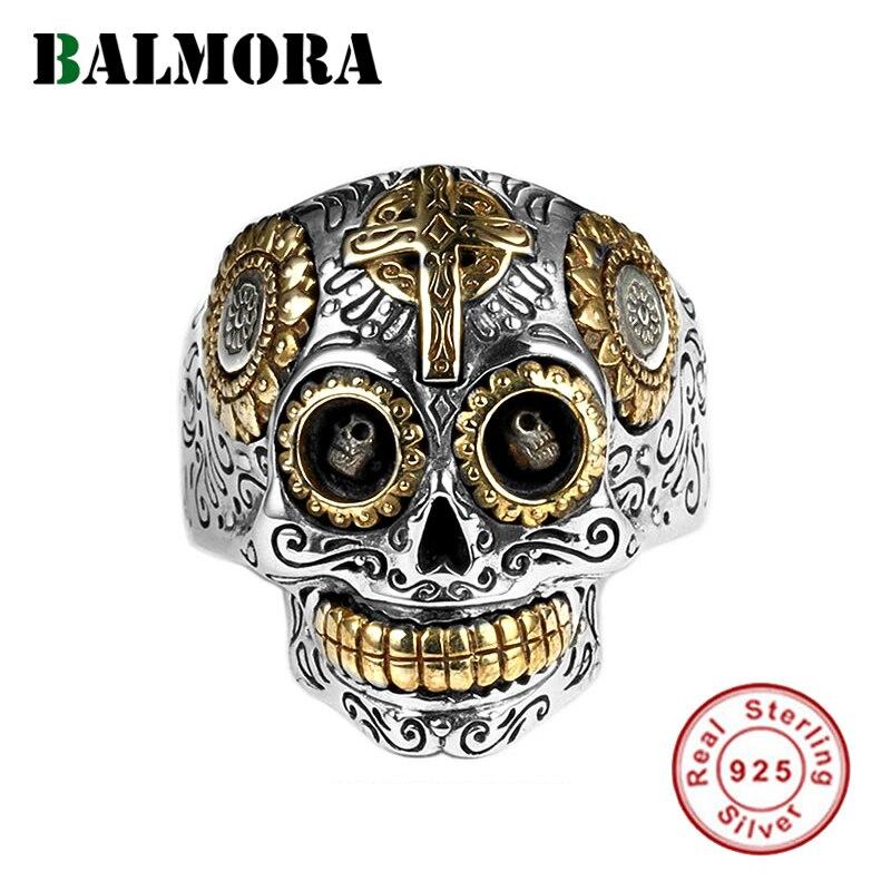 Empilhamento BALMORA Real Prata Esterlina 925 Do Crânio Do Punk Do Vintage Anéis de Dedo para Homens Casal Hip-pop Cool Fashion Jóias bijoux