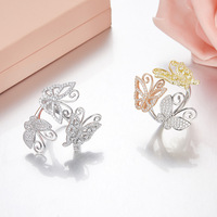 brand luxury design 925 sterling silver BowKnot Ring for women Micro cubic zirconia butterfly ring best friendship gifts