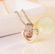 Korean version of the new I love you ladies necklace romantic memory pendant fashion anniversary