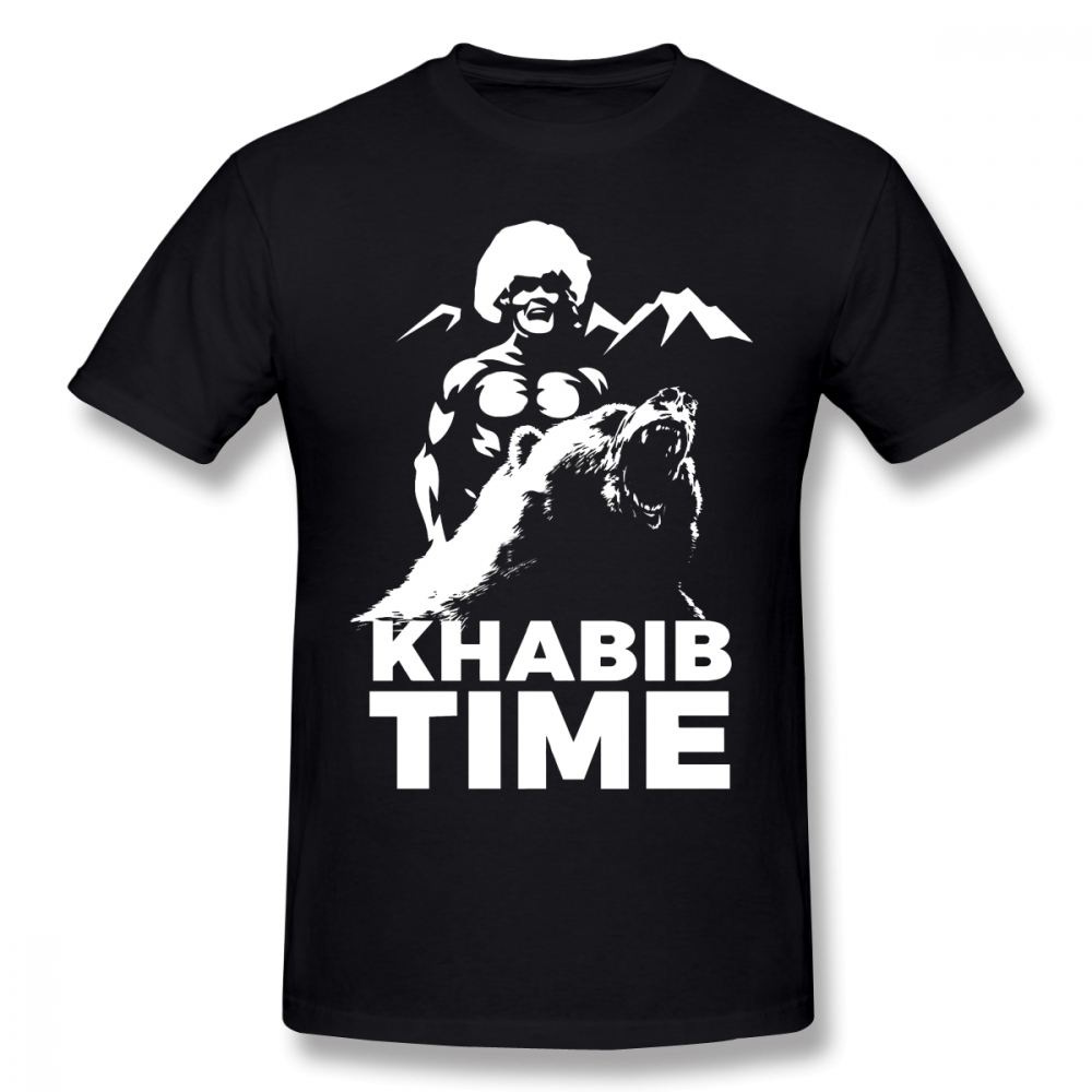 For Male KHABIB Nurmagomedov TIME Eagle T Shirt Quality Short Sleeve Round Collar Big Size Homme T Shirt