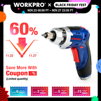 WORKPRO 3.6V Cordless Screwdriver Foldable Electric Rechargeable with Work Light
