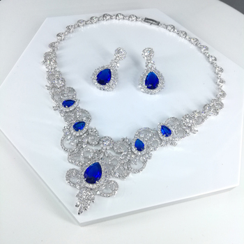 Hot sale New fashion vintage blue CZ zircon necklace earrings jewelry set wedding party banquet dressing jewelry free shipping