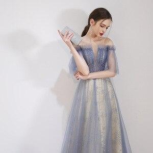 Image 4 - יופי אמילי סקופ שרוולים ערב שמלות 2019 מקסים תחרה למעלה חזור Robe דה Soiree שמפניה ארוך שמלת ערב