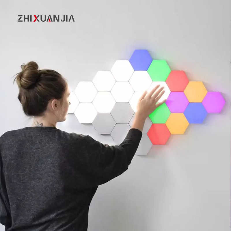 EU US Touch Wall Lamp Creative Honeycomb Modular Assembly Helios Quantum lamp LED Magnetic decoration Wall Light Bedroom Lamp