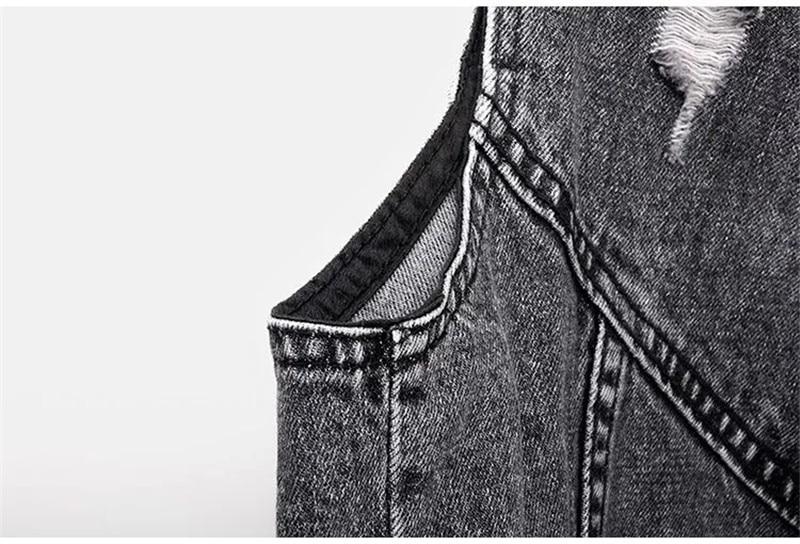 H4703c857d9cf44238892785e8b239db6o Fashion Denim Vest Female Spring Autumn Sleeveless Wild Tops Short Jacket Women Plus Size 5XL Smoky Gray Jean Waistcoat