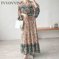 TVVOVVIN Print Pattern Pleated Dress Women Korea Fashion New Long V Neck Vintage Lantern Sleeve Elegant Casual Midi Dress F683