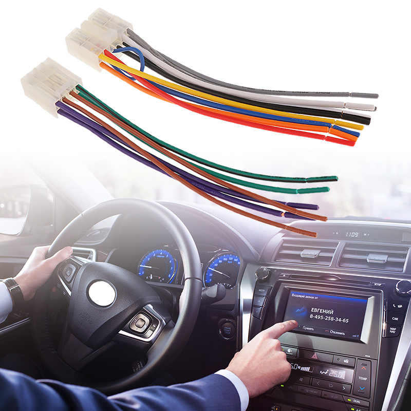 1 Set 10 Pin+ 6 Pin  Car Stereo Radio Player ISO Wiring Harness Connector For Toyota Car Stereo 6.3 Inch EIA Color Code