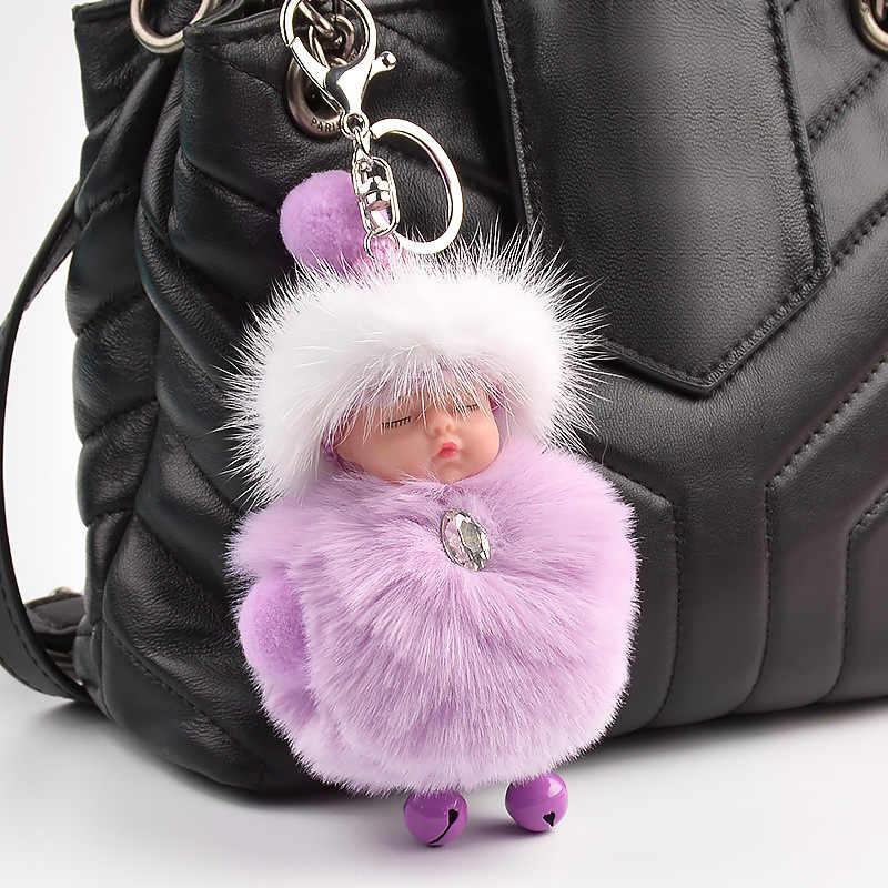 Novo bonito dormir bebê boneca chaveiros pelúcia chaveiros fofo pom pom pele do falso de pelúcia chaveiros