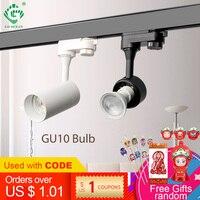 GU10 szyna oświetleniowa 2 3 4 drut fazy reflektory sklep odzieżowy sklep oprawa Loft śledzenie szyny lampy led na szynę w Oświetlenie toru od Lampy i oświetlenie na